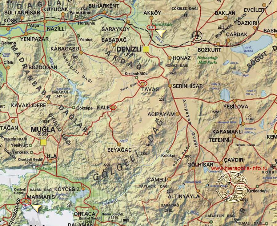В турции памуккале на карте турции